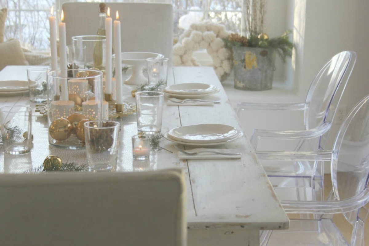 Modern farmhouse decor in white shabby chic dining room by Hello Lovely Studio