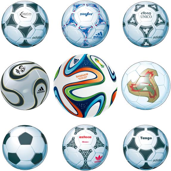 Balones oficiales de mundiales de fútbol - Vector