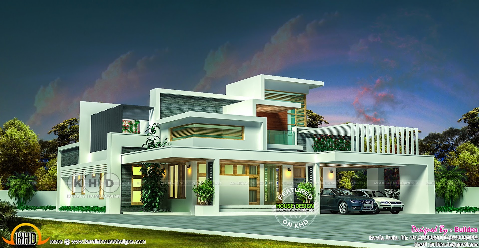 5 bedroom flat roof contemporary home in 2832 sq ft