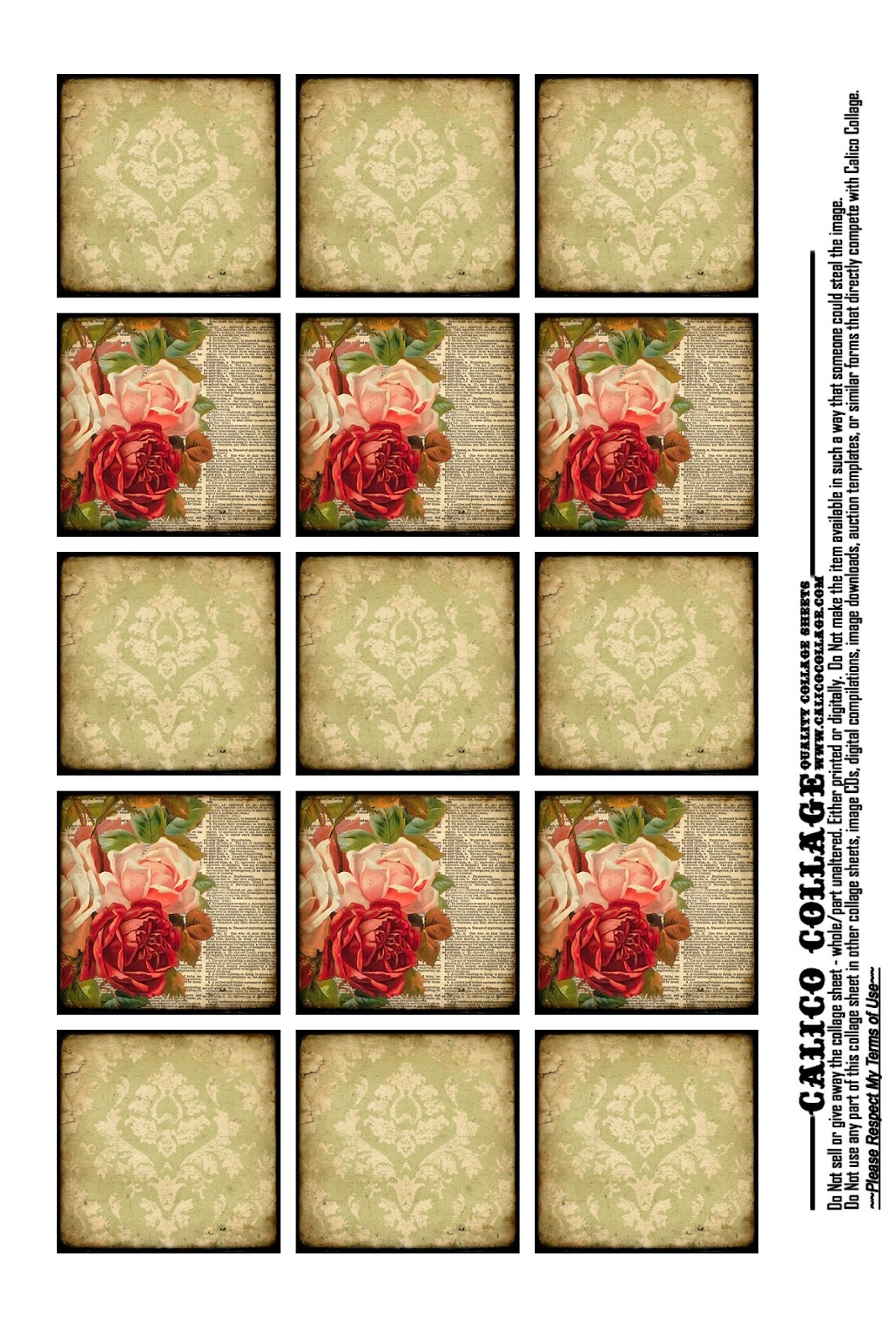 Calico Collage High Quality Digital Collage Sheets Free