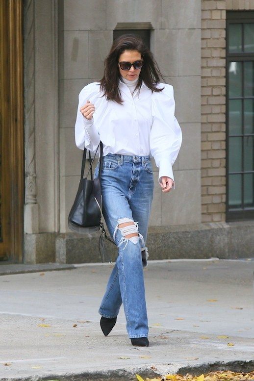 Katie Holmes Reminds Us How Chic a Statement Blouse Is