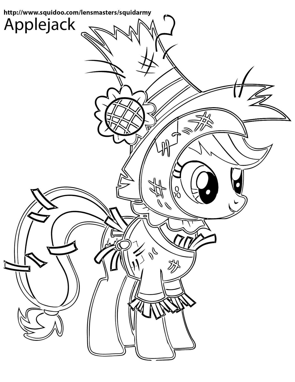 applejack coloring pages - my little pony coloring pages squid army