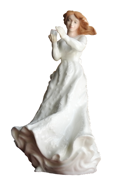 One of the Royal Doulton white series, this a young woman with sandy brown hair wearing a white dress.