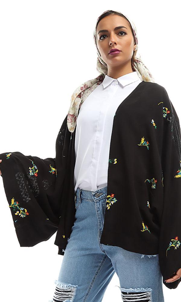 Floral Cropped Cardigan - Black