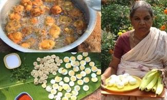 Village Foods Pakora – Amazing Banana Boiled Eggs Pakodi Recipe- Delicious Egg Bonda Pakora Recipe