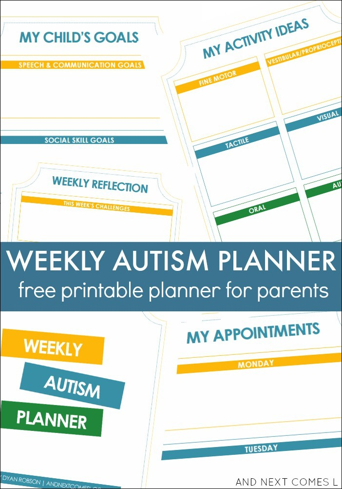 Free Printable Weekly Autism Planner for Parents from And Next Comes L