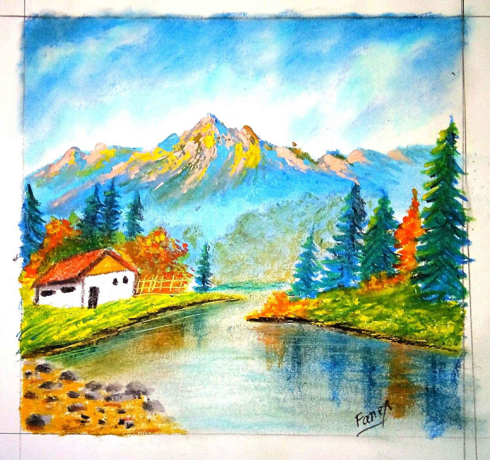 Easy landscape drawing for beginners oil pastel drawing for beginners
