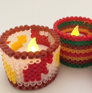 Hama bead battery candle holders