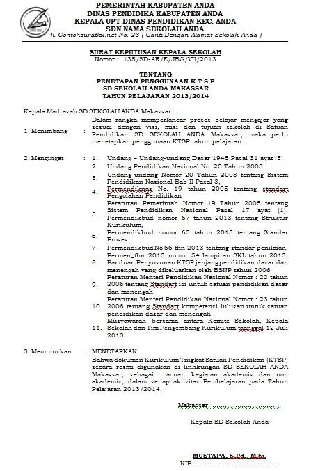 Download Contoh SK Penetapan Kurikulum Sekolah Format MS Word