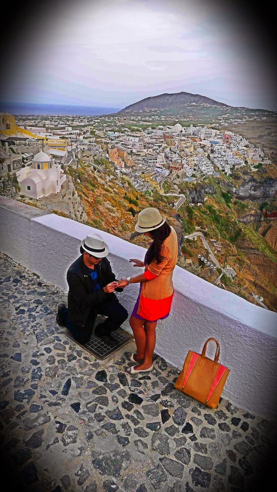 Proposing in Santorini