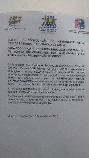 Morro do Chapéu:Funcionários Públicos fazem protesto dentro da prefeitura contra atraso de Salários, Confira o Vídeo