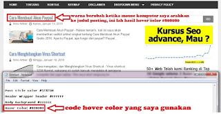 Contoh Efek Warna Hover Pada Template Blog