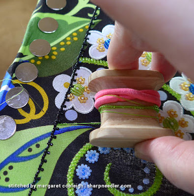 Showing how to hold the beading koma. (Wild Child Japanese Bead Embroidery by Mary Alice Sinton)