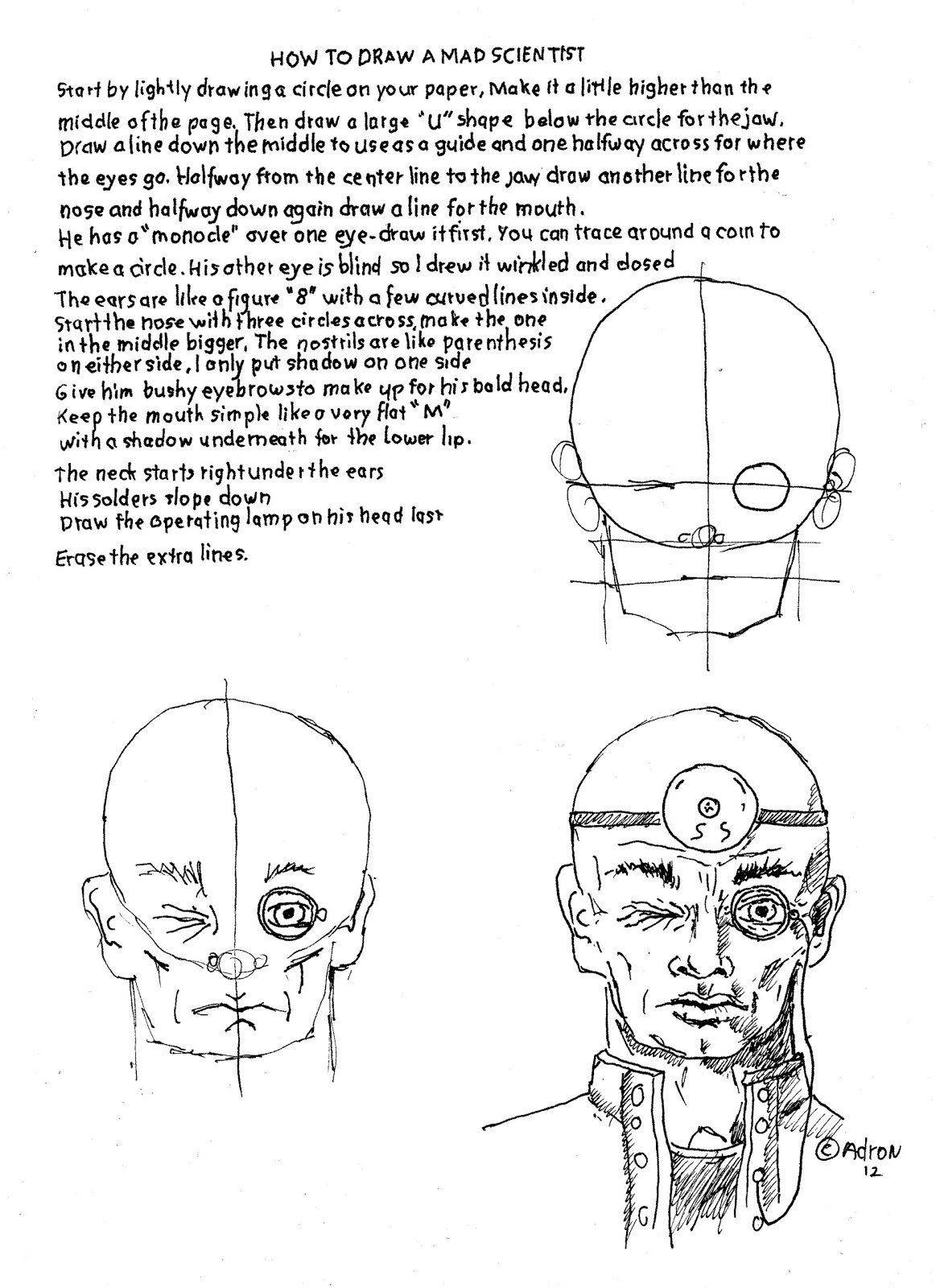 How To Draw Worksheets For The Young Artist How To Draw The Mad Scientist Dr Frankenstein