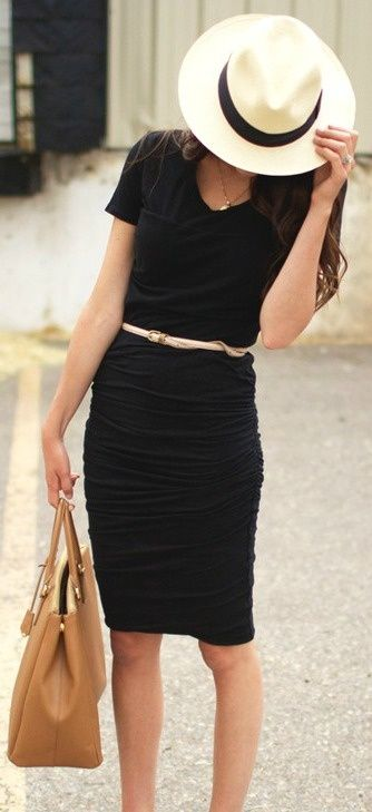 how to style a hat : brown bag + black dress