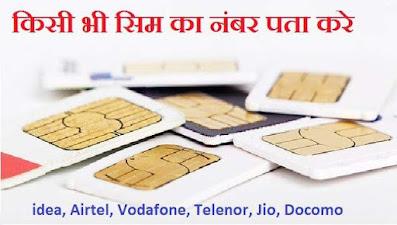 Idea, Airtel, Vodafone, Jio, Telenor, Docomo Sim का Number कैसे जाने?
