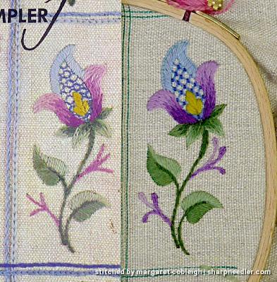 Crewel Sampler (by Elsa Williams): Changes from original
