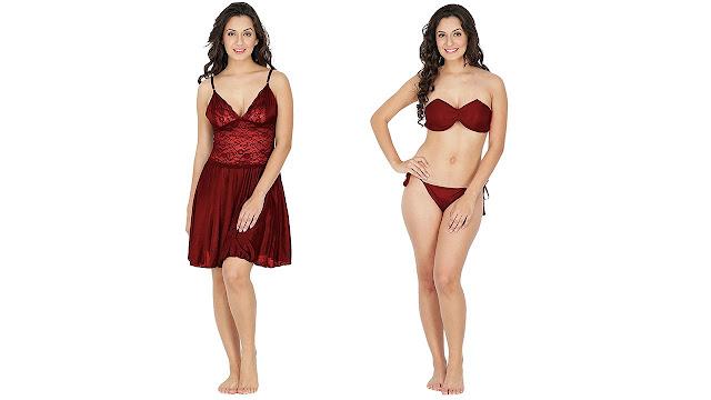 41ac6d9d777 12 Klamotten Satin Women Nightwear and Bikini Set 221M-07