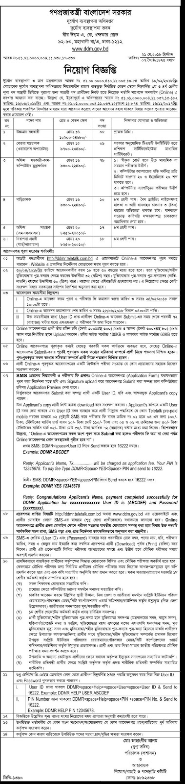 Department Of Disaster Management (DDM) Job Circular 2018