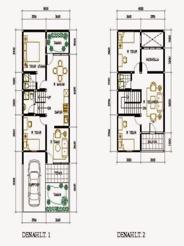 Denah Rumah 2 Lantai Model 2020 Denah Rumah 2 Lantai