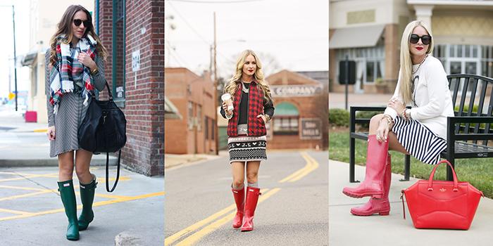 idee outfit femminili stivali da pioggia