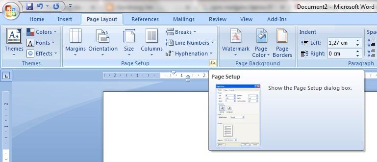 Selanjutnya Arahkan Mouse Pointer Di Pojok Goup Menu Page Stup Dan Klik Bagian Samping Bawah Gambar Arah Panah Kecil Muncul Kotak Dialog