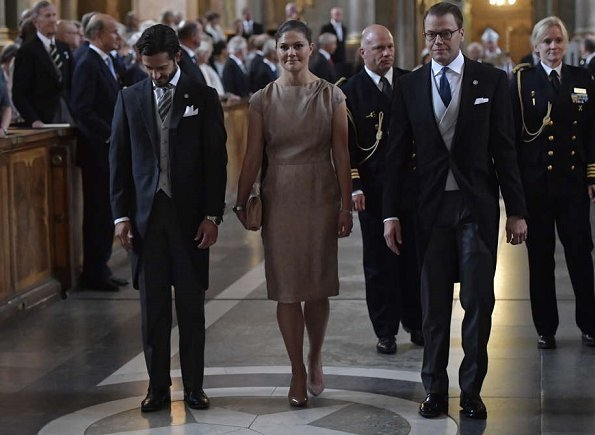 Crown Princess Victoria wore Fadi El Khoury dress and Princess Madeleine wore ERDEM Aleena floral print matelasse dress