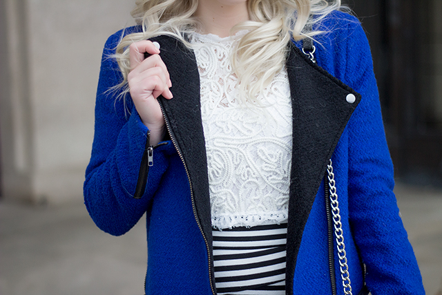 Winter outfit inspiration // Royal blue moto jacket with lace crop top, striped bandage skirt and black over the knee boots.