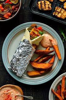 Harissa Halloumi  Roasted Vegetable Wraps  Sweet Potato Wedges