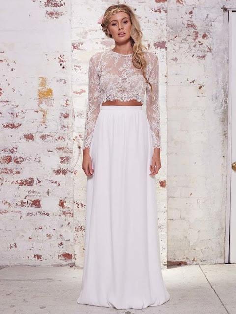Vestido longo branco duas peças