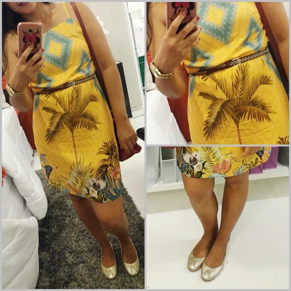 Look novo: Vestido; Sapatilhas; Bolsa; Cinto; Relógio; Brincos;