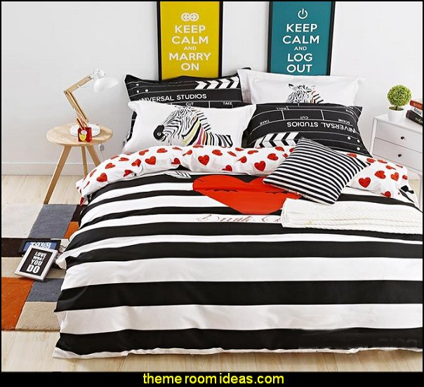 Cute Heart Shape and Black-and-white Stripe Cotton