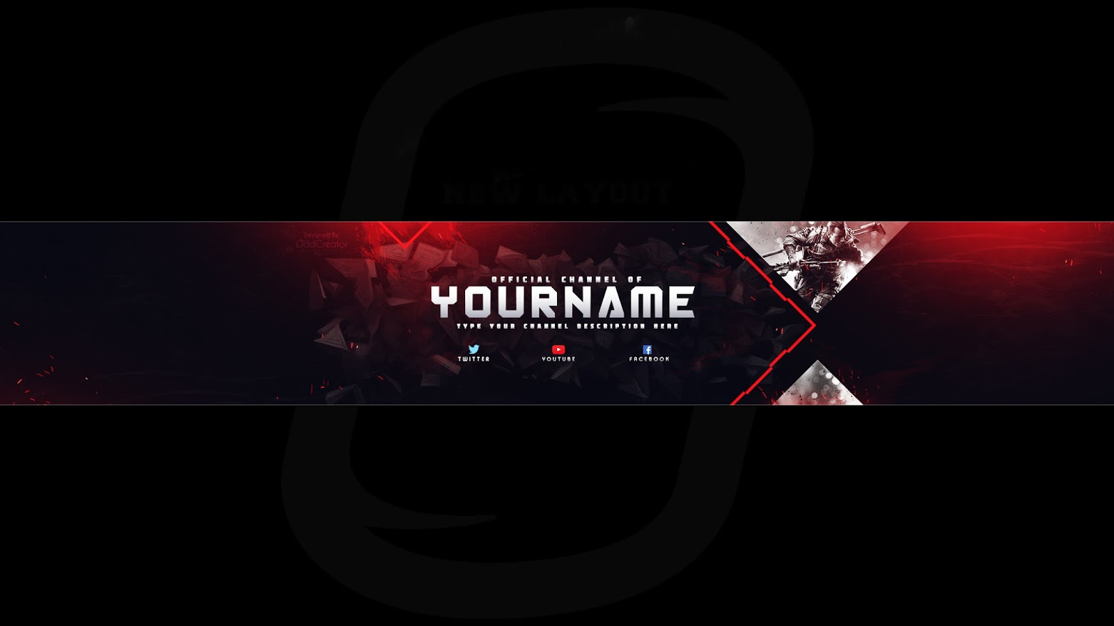 Top gaming banner Youtube Channel Art Photoshop Template free ...
