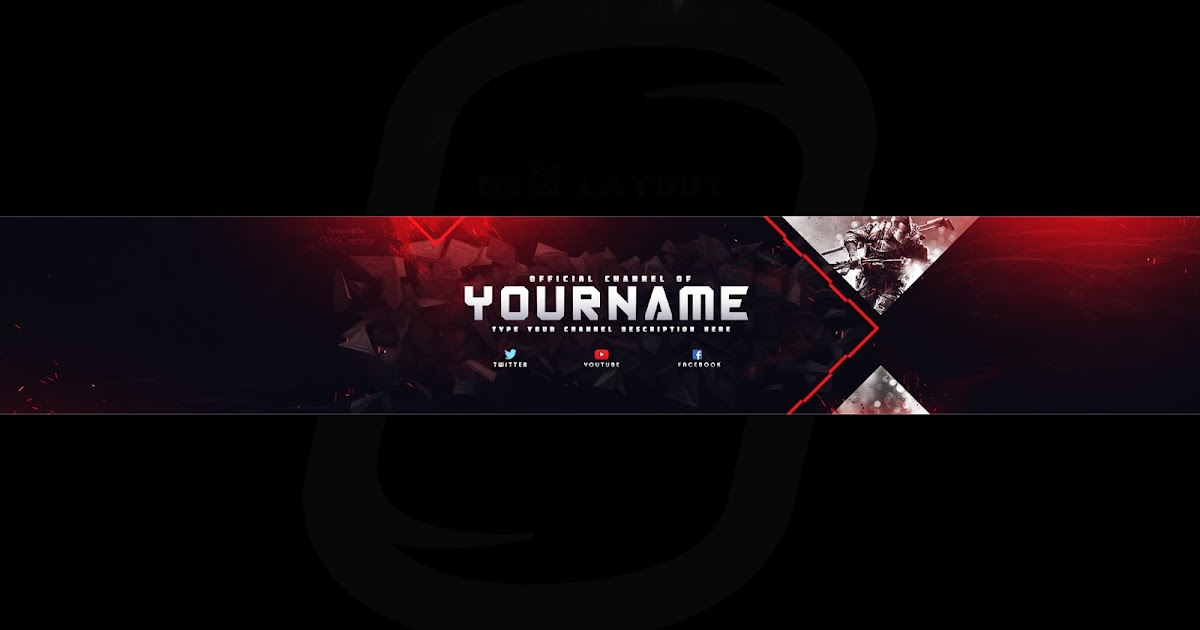 top gaming banner youtube channel art photoshop template. Black Bedroom Furniture Sets. Home Design Ideas