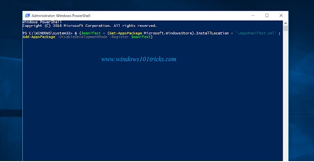 Re-register the Windows Store on powershell