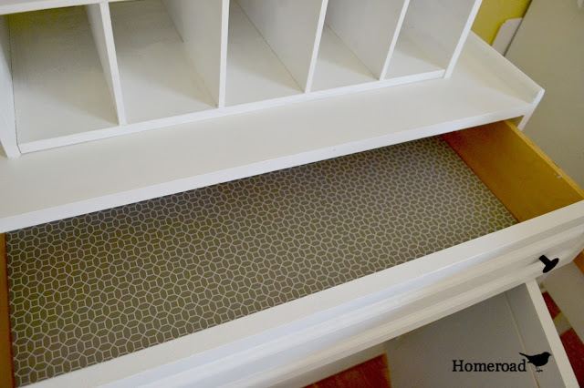 open top drawer with shelf liner