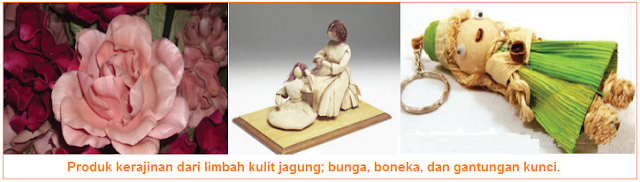 Produk kerajinan dari limbah kulit jagung; bunga, boneka, dan gantungan kunci.