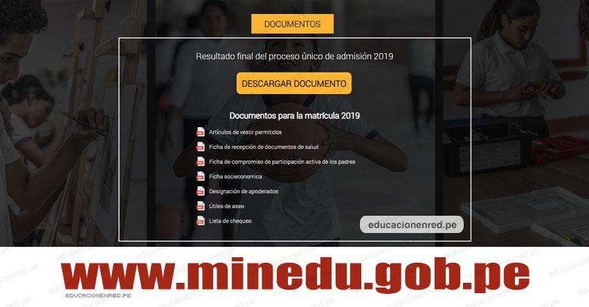 COAR 2019: Relación de documentos para matrícula a Colegios de Alto Rendimiento [NIVEL NACIONAL] www.minedu.gob.pe