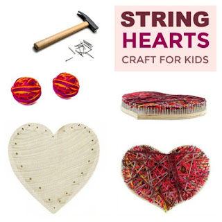 FUN KID PROJECT: Make String Hearts!  A beautiful valentines craft for kids!  #heartcrafts #valentinescrafts #craftsforkids