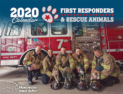 2020 First Responders & Rescue Animals calendar, with a photo of fire truck and firemen in full gear holding various small animals
