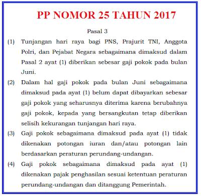 Berikut PP No 25 Tahun 2017 Tentang THR Untuk PNS dan PP No 26 Tahun 2017 Tentang THR Untuk Non PNS