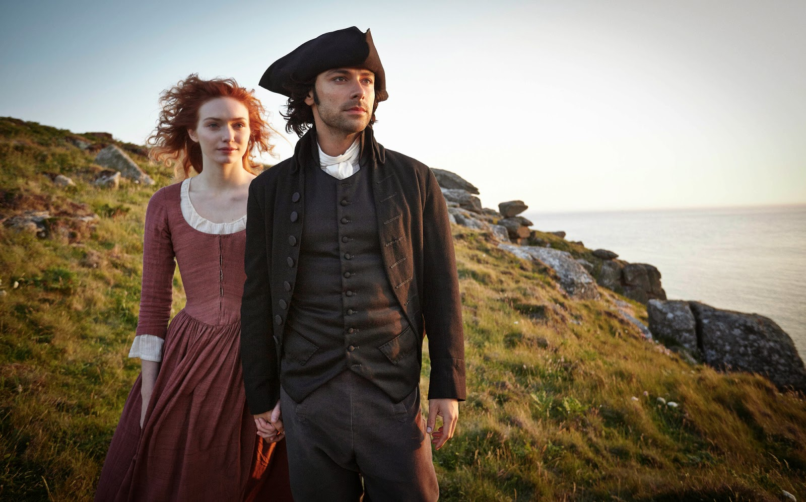 Actors Eleanor Tomlinson and Aidan Turner in BBC series, Poldark