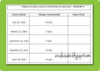 Fichas cálculo de fechas.