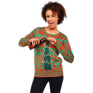 Jersey de Navidad con abridor de cervezas en la estrella del árbol