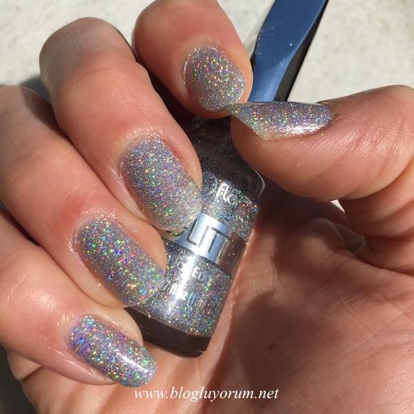 flormar glitter nail enamel gl14 oje holographic silver güneş