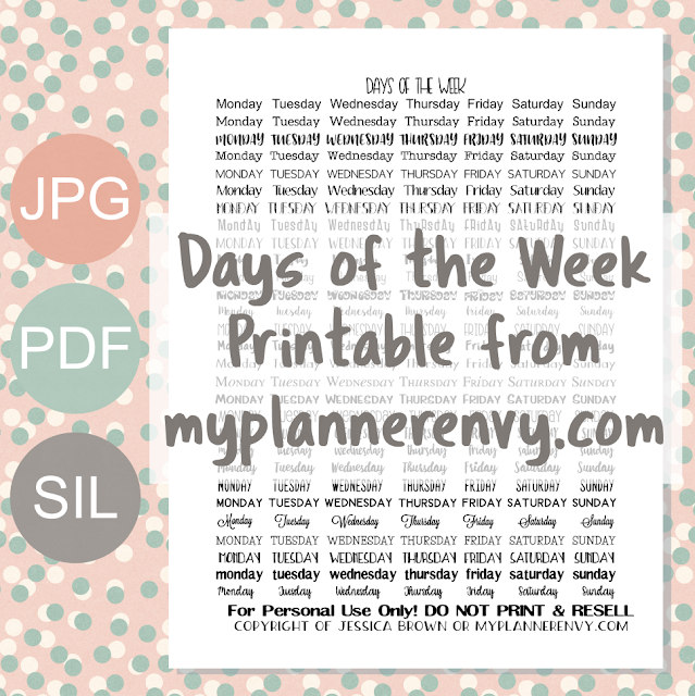Free Printable Days of the Week Stickers from myplannerenvy.com