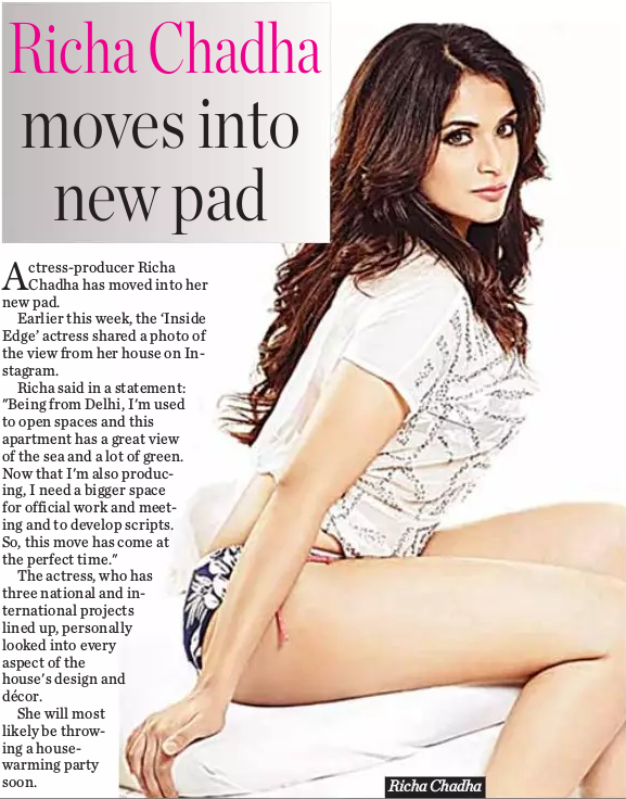 Richa Chadha moves into new pad