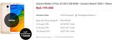 Harga Xiaomi Redmi 5 Plus di Shopee Rp. 2.199.000