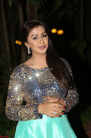 Nikki Galrani in Green Skirt  Top at Marakathamani music launch ~  Exclusive (80).JPG