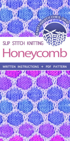 KnittingStitches.org -- The Art of Slip-Stitch Knitting, knit Honeycomb Stitch. #knitting #knittingpattern #KnittingStitches